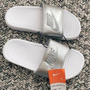 Nike silver slides